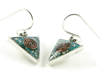 Orgone Energy Dangle Earrings - Small Triangle Drops in Antique Silver with Turquoise - Orgone Energy Jewelry - Artisan Jewelry