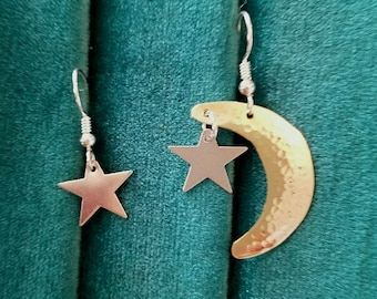 hammered moon and stars earrings
