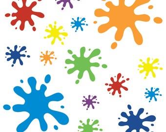 Multicoloured Splat Wall Sticker Set