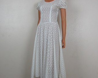Vintage 1950s White Flower Eyelet See-Through Custom Dress