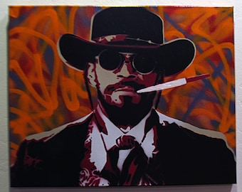 Django Unchained - Spray paint stencil art on canvas