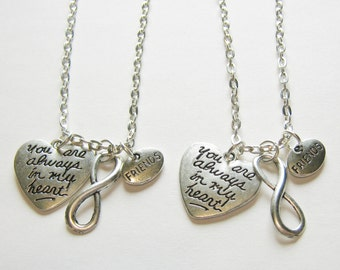 2 Friends You Are Always In My Heart Infinity BFF Necklaces