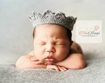 Handmade Crochet Crown | Crochet Crown | Newborn Photoprop | Prince | Princess