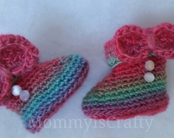 Baby Booties / Pretty/ Warm/ Variegated colors/ Baby Girls