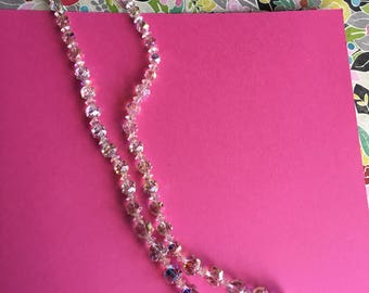 Absolutely Fabulous 1950's Vintage Super Long Austrian Crystal Necklace 24in