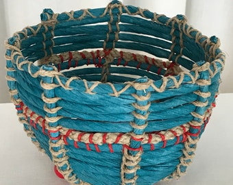 Turquoise and Jute Basket with Red Beads