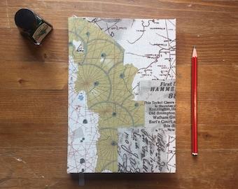 Vintage Map Print Hardback A5 Plain Notebook