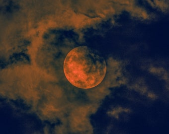 Orange Moon with Clouds