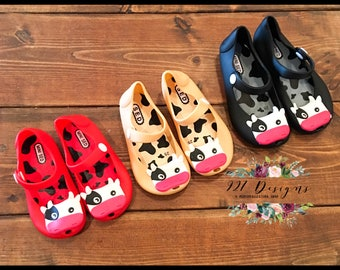 Cow Face Jelly Shoes - Mary Jane Style