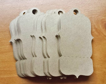 24 Kraft Paper Tags, Large Perforated Tags for Craft Fairs and Raffles, Hanging Gift Tags, Craft Show Price Tags