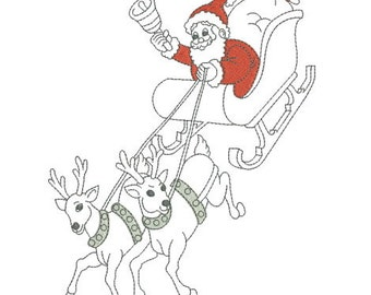 Embroidery design machine Santa's sleigh with his reindeer Christmas instant download