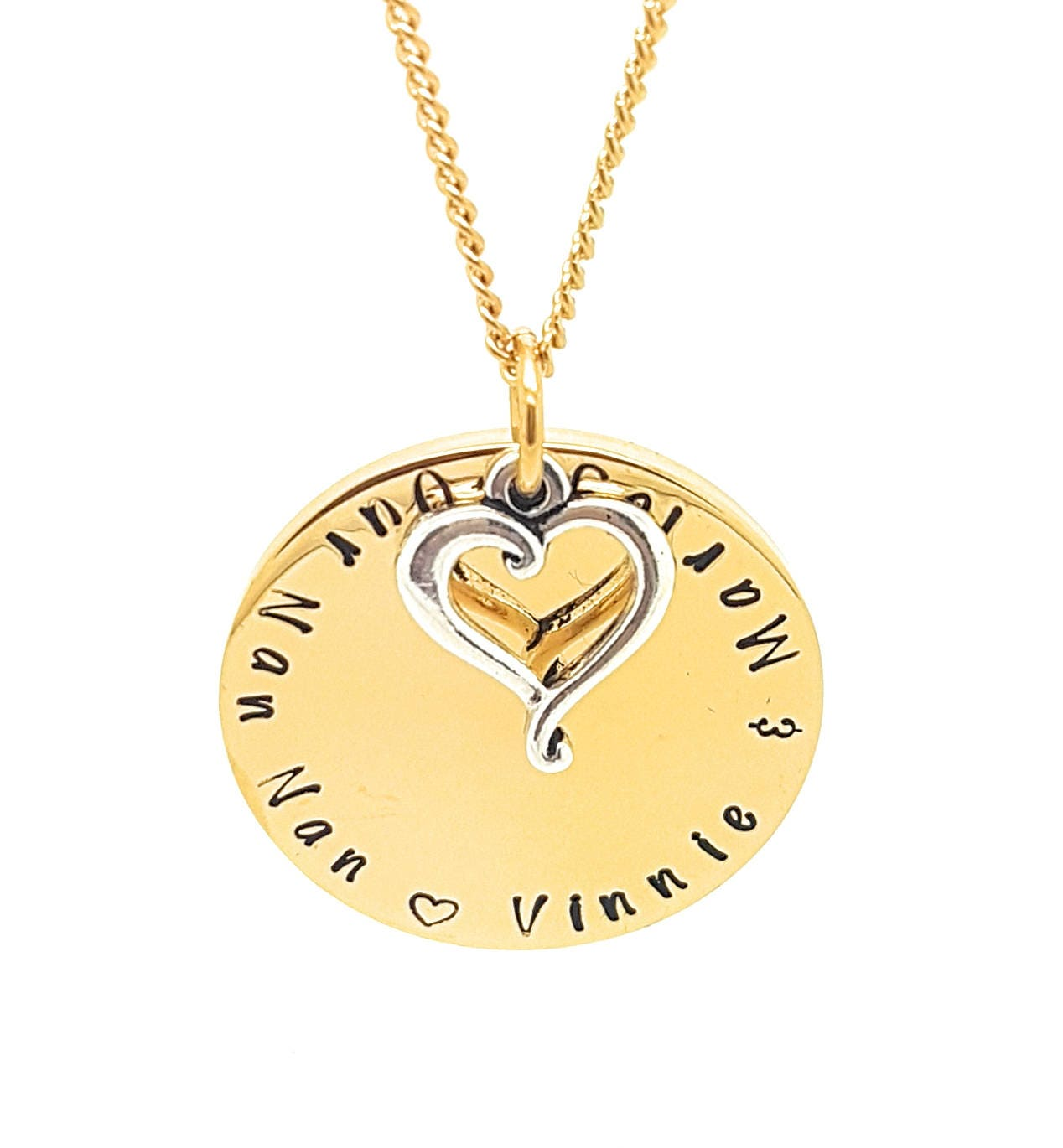 Gold and silver family names love heart pendant personalised gold and silver family names love heart pendant personalised jewellery hand stamped name necklaces gold family name pendants gift mozeypictures Choice Image