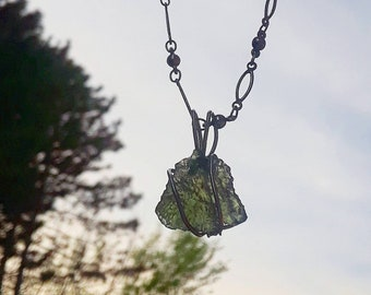Genuine Moldavite 6.15ct, Stained copper wire-wrapped necklace