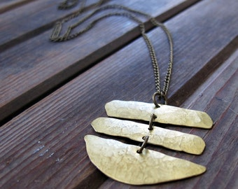 Wander Lightly - Long Brass Necklace - Artisan Tangleweeds Jewelry