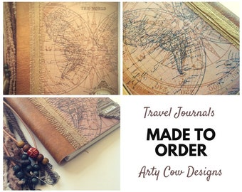 Travel journal, travel diary, travel scrapbook, personalised, customised.