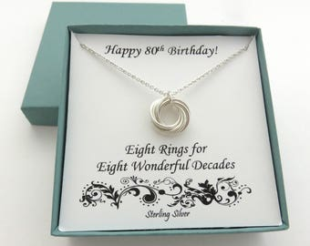 80th Birthday Gift, Sterling Silver Necklace, 80th Birthday, Eight Ring Necklace, Birthday Jewelry, 8th Anniversary,Birthday Gifts, 8 Rings