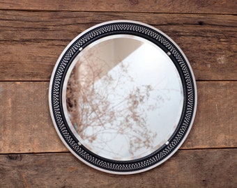 Upcycled Turntable Wall Mirror repurposed vintage Pioneer platter - Round Wall Mirror / Ottoman Tray / Vanity Tray III