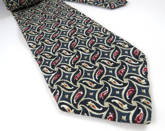 Vintage Silk Necktie, Club Room CR, Abstract Paisley Swirls, Gift for Him, Navy and Marron tie