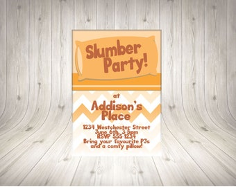 CUSTOMISABLE Slumber Party Invitation ORANGE