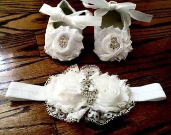 White/Cream /Pink Baby Crib Shoe Set with Matching Headband/Christening Shoes/Baptism Shoes/Baby Shoe Set/ Rhinestone & Lace Baby Shoes