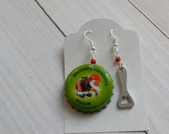 "Earrings ""achouffe brewery"" beer caps green and a bottle opener"