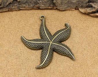 5pcs Antique Bronze Large Starfish Charms Pendant 49x43mm C3077-T