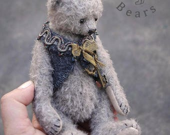 Otto, Grey Mohair Artist Teddy Bear by Aerlinn Bears