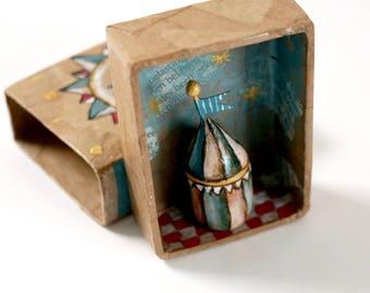 Shadow box | Let Show Begin | Matchbox  art | Diorama | Circus | 5.5 cm x 7.5 cm | 2.2'' x 2.9''