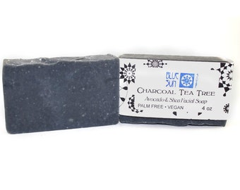 Activated Charcoal and Tea Tree Face and Body Soap - Facial Soap - Avocado Oil Soap - Shea Butter Soap - Vegan Soap - Palm Oil Free Soap