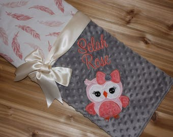 Owl- Personalized Minky Baby Blanket with Embroidered Owl-  Coral and Pink Feathers & Gray Minky