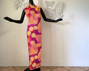 MOD Vintage 60s Hawaiian Maxi Dress Asian Chinese Cheongsam Batik Print 1960s 1970s Polynesian Tiki Dress Hippie Boho Festival Dress M Large