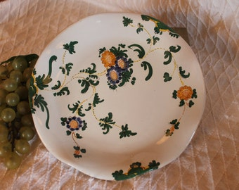 "Italian Hand Painted Ceramic 9.25"" Ruffled Plate - Green Vines with Blue and Orange Flowers"