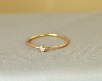 Tiny Opal Ring, Rose Gold Filled Opal Stacking Ring, Opal Ring, Opal Mothers Ring, October Birthstone, Gold Natural Opal Ring, Opal Rings