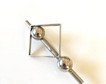 Vintage geometric silver metal brooch  modernist minimalist postmodern 70s 80s