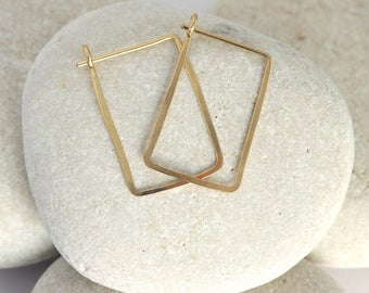 Small Gold Rectangle Hoops, hammered square gold earrings in 14K or gold fill