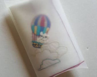 Hand Embroidered Hankie - Bear in Hot Air Balloon