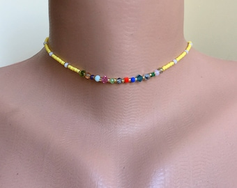 chokers,class beaded,necklaces,jewelry,daily jewelry, simple, crystal, beads, crystal chokers,boho,avant garde