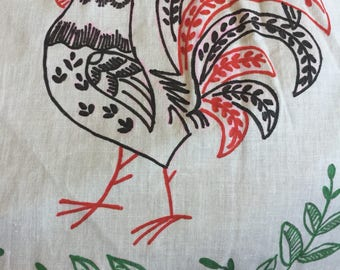 Vintage Rooster Apron Red Green White Retro House Work Style Farm Chic