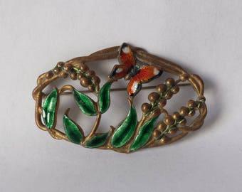 Antique Enamel Brass Brooch Pin Butterfly Art Nouveau ca: 1910-30's Estate Find