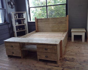 Reclaimed timber 4 drawer side board/Bed End table