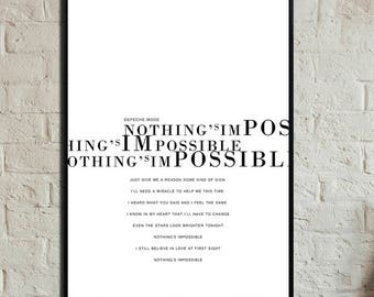 Nothing's Impossible Poster Depeche Mode. Printing decor. Typographical printing. Scandinavian style print. Gift Idea. Nordic style print.
