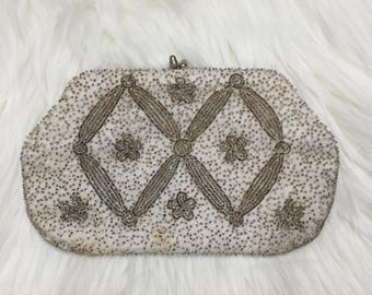 Vintage Beaded Clutch Ivory and Silver - Handmade in Japan - Richere Evening Bag