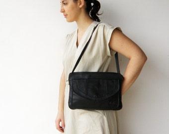 Vintage Black Leather Bag / Leather Shoulder Bag