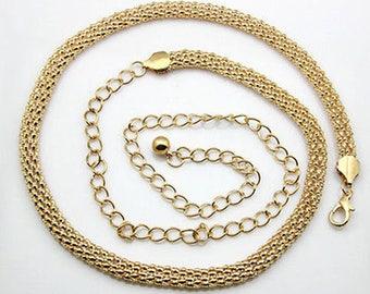 Womens Ladies Girls Belt - Mesh Waist Band - Metal Chain - Charm Belt Fashion Skinny - Gold