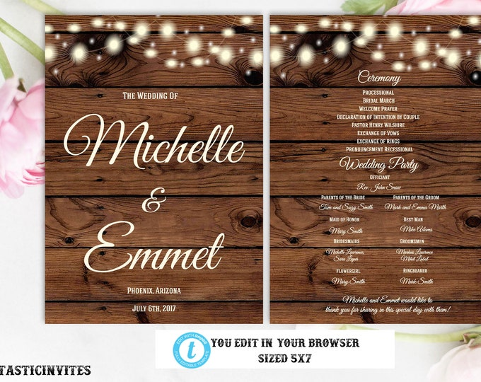Rustic Wedding Program Template, Ceremony Program, Template, Wedding Ceremony, Program, Country Wedding, Vintage, Rustic DIY Wedding Program