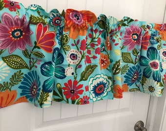 Aqua Orange Pink spring  flower curtain valance