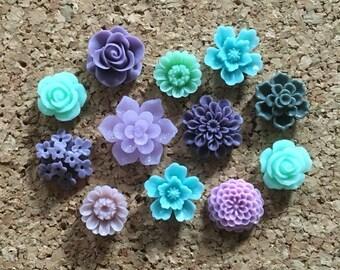 Flower Thumbtacks or Magnets Set of 12 - (#176) dorm decor, hostess gift, weddings, bridal shower, baby shower, gift, teacher gift