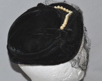 Vintage Ladies' Hat - Black Velvet Shaped Flat Hat or Pancake Hat with Faux Pearl Trim