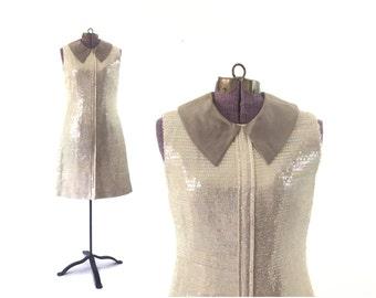 1960s dress, sequined dress, 60s dress, vintage dress, 1960s costume,, vintage clothing, sequin dress, Xs dress, small dress, white dress