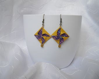 """Earrings """"Windmill"""" origami paper and square bead"""